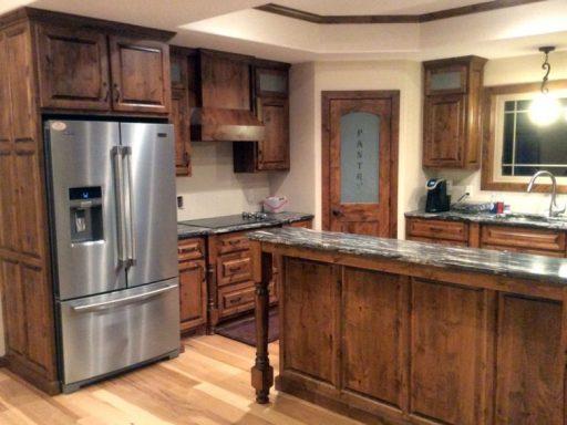 alder kitchen with two-tier island